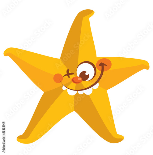 Poster Pony Happy crazy yellow face starfish tooth smiling