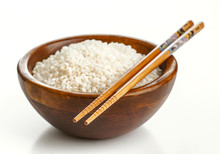 Wooden Bowl With Rice And Chin...
