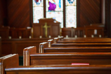 Church Pews With Stained Glass...