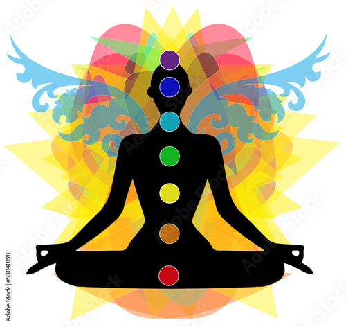 Fotografie, Obraz  sagoma in posizione yoga e punti chakra