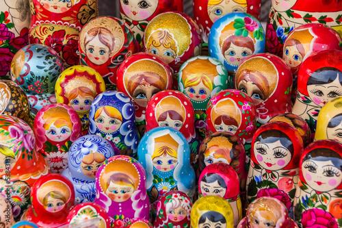 Fototapeta Colorful russian wooden dolls