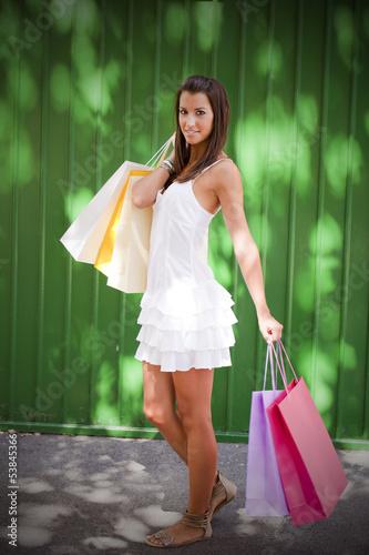 Cadres-photo bureau Avion, ballon Beautiful woman with five shopping bags