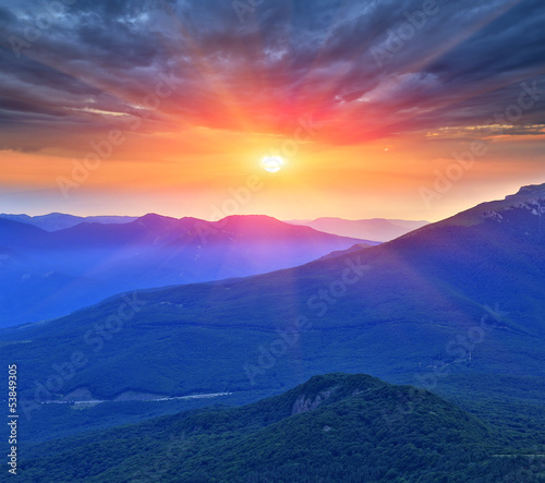 evening scene in mountains - 53849305