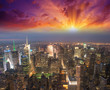 Manhattan, NYC. Spectacular sunset view of Bryant Park and Midto