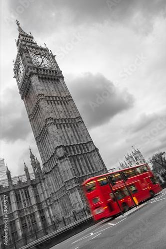 Big Ben e autobus a due piani, Londra #53863547
