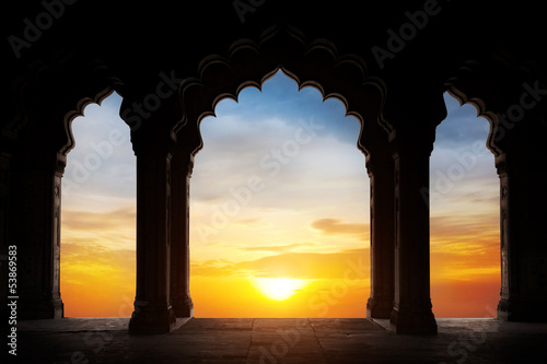 Printed kitchen splashbacks Place of worship Arch silhouette at sunset