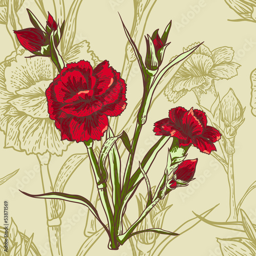 Tuinposter Abstract bloemen Seamless floral background with carnation