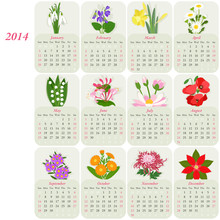 2014 Calendar With Flowers Of ...