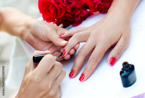 Spoed Foto op Canvas Manicure Female manicure