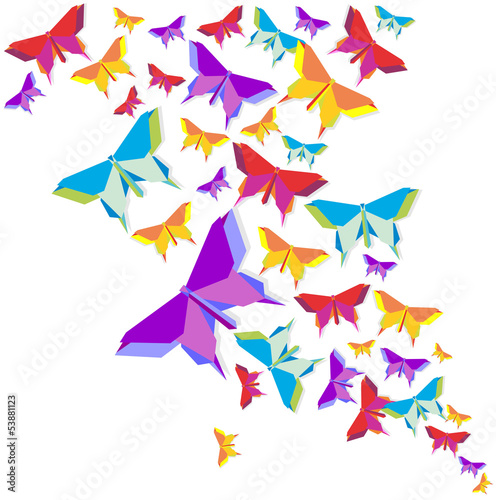 Poster Geometric animals Origami butterfly color splash