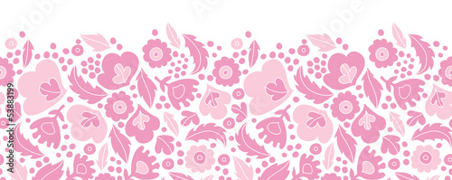 Vector soft pink floral silhouettes horizontal seamless pattern