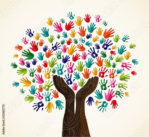 Fotografie, Tablou  Colorful  solidarity design tree