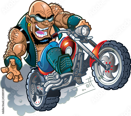 Poster Motocyclette Wild Bald Biker Dude