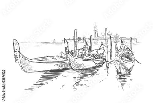 Fotografie, Obraz  Skizze Venedig