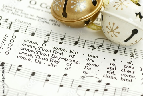 Detail of songbook with Christmas carols Canvas-taulu