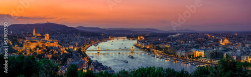 Ingelijste posters Boedapest Panoramic view over the budapest at sunset