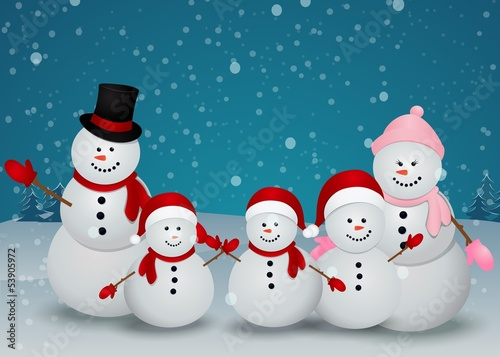family of snowman christmas background Canvas Print