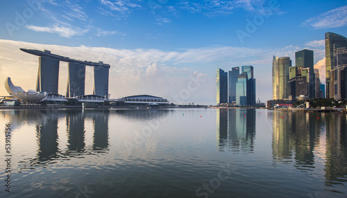 In de dag Singapore Singapore reflection of buildings Marina bay