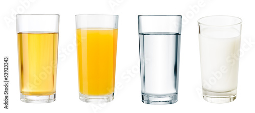 Cadres-photo bureau Jus, Sirop full glasses with different beverages isolated set