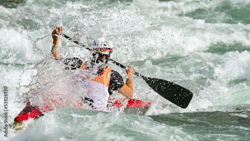 discesa nelle rapide con canoa Canvas Print