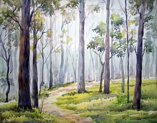 Fototapeta Do hotelu Forest - Watercolor Painting