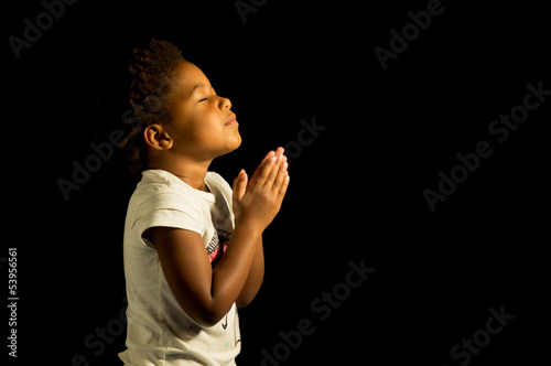 Praying African American Girl Canvas Print