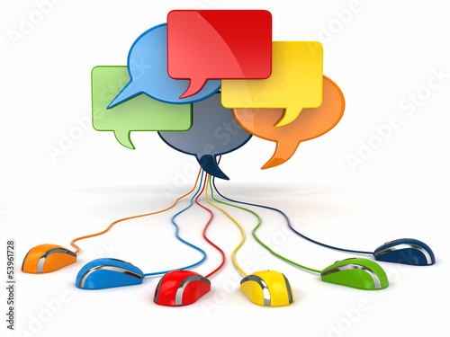 Photo  Concept of social network. Forum or chat bubble speech.