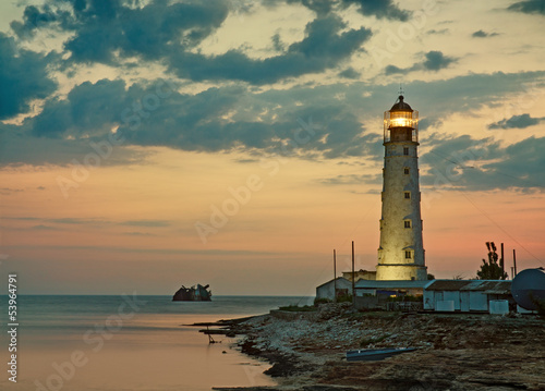 Old lighthouse on sea coast, Tarkhankut, Crimea, Ukraine