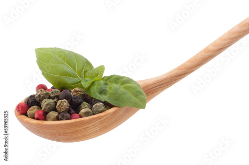 Foto op Canvas Kruiden 2 Pepper seasoning mix in wooden spoon isolated on white backgrou