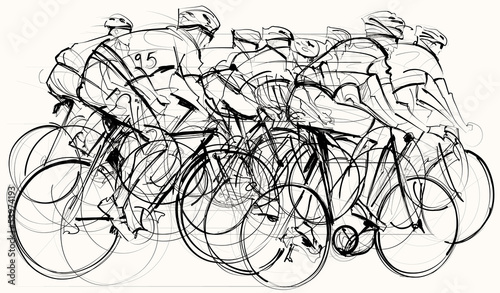 Printed kitchen splashbacks Art Studio cyclists in competition
