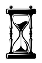 Hourglass. Vector Black Silhou...
