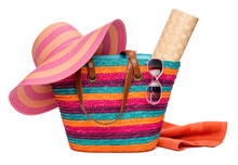 Colorful Striped Beach Bag Wit...
