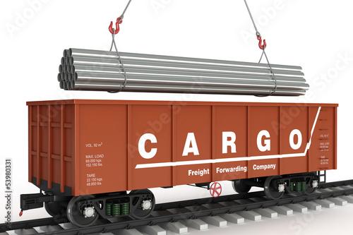 Fotografie, Obraz  Loading pipes in rail wagon
