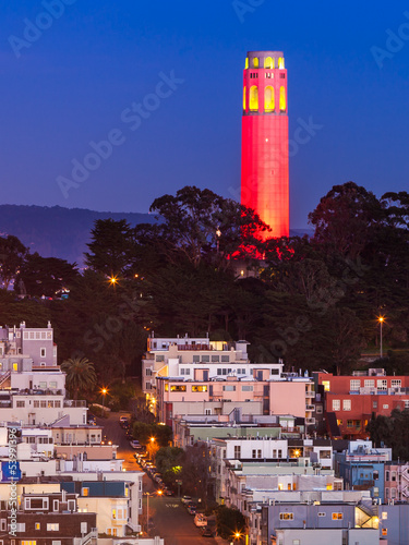 Coit Tower in Red and Gold Wallpaper Mural