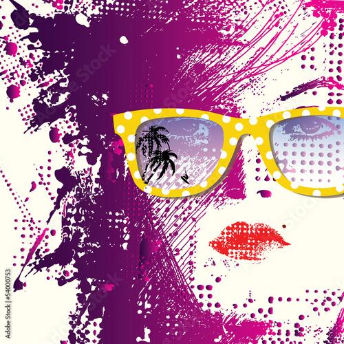 Printed kitchen splashbacks Woman face Women in sunglasses