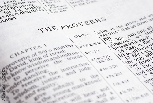 Photo Detail of the Bible opened on book of Proverbs