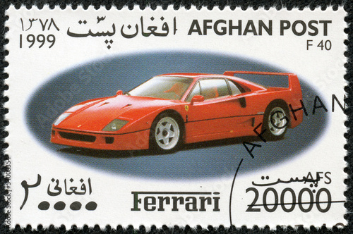 Fotografia  stamp printed by Afghanistan, shows sports car