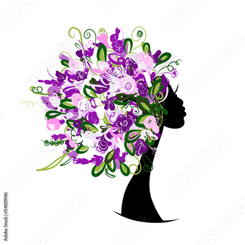 Foto op Canvas Bloemen vrouw Woman head with floral hairstyle for your design