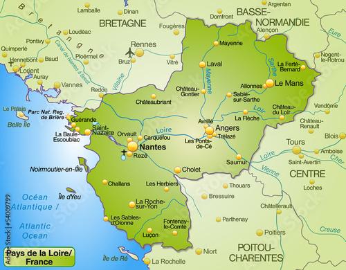 Nantes Karte.Karte Der Region Payd De La Loire Mit Umland Buy This Stock