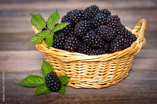 Blackberries in the basket Wallpaper Mural