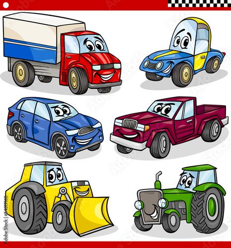 zestaw-zabawnych-kreskowek-samochodow-i-samochodow