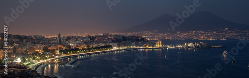In de dag Napels Night bay of Naples