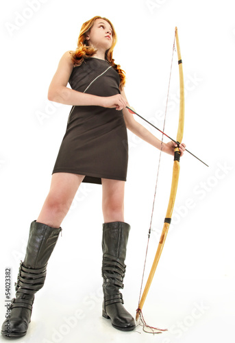 Tween Girl with Handmade Bow and Arrow Over White Tablou Canvas