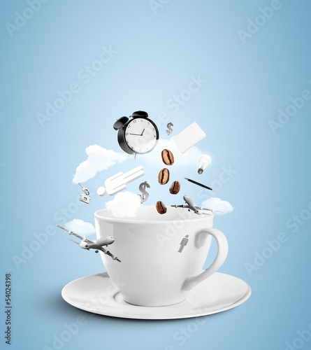 Poster Café en grains cup with social hurricane on blue