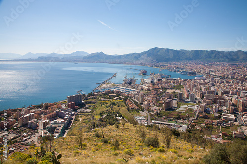 Fotobehang Palermo Palermo - outlook over city, coast and harbor