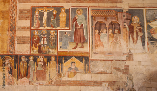 Verona -  Fresco from 13. - 14. cent. in basilica San Zeno