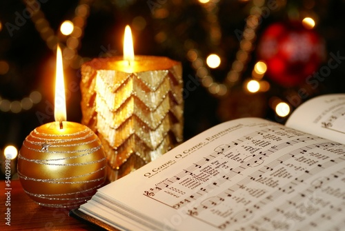 Detail of songbook with Christmas carols Fototapet