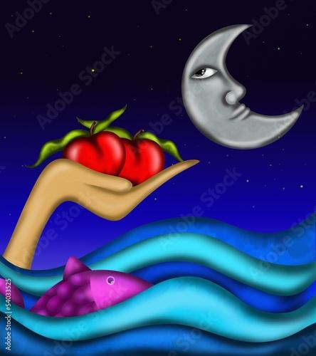 czerwone-jablka-w-oceanie-abstrakcyjna-ilustracja