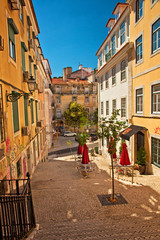 Nice houses in the old town of Lisbon, Portugal