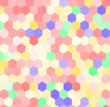 Colorful Pink Hexagon Seamless Pattern, Vector